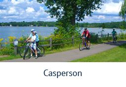 Bikers on a trail at Casperson Park