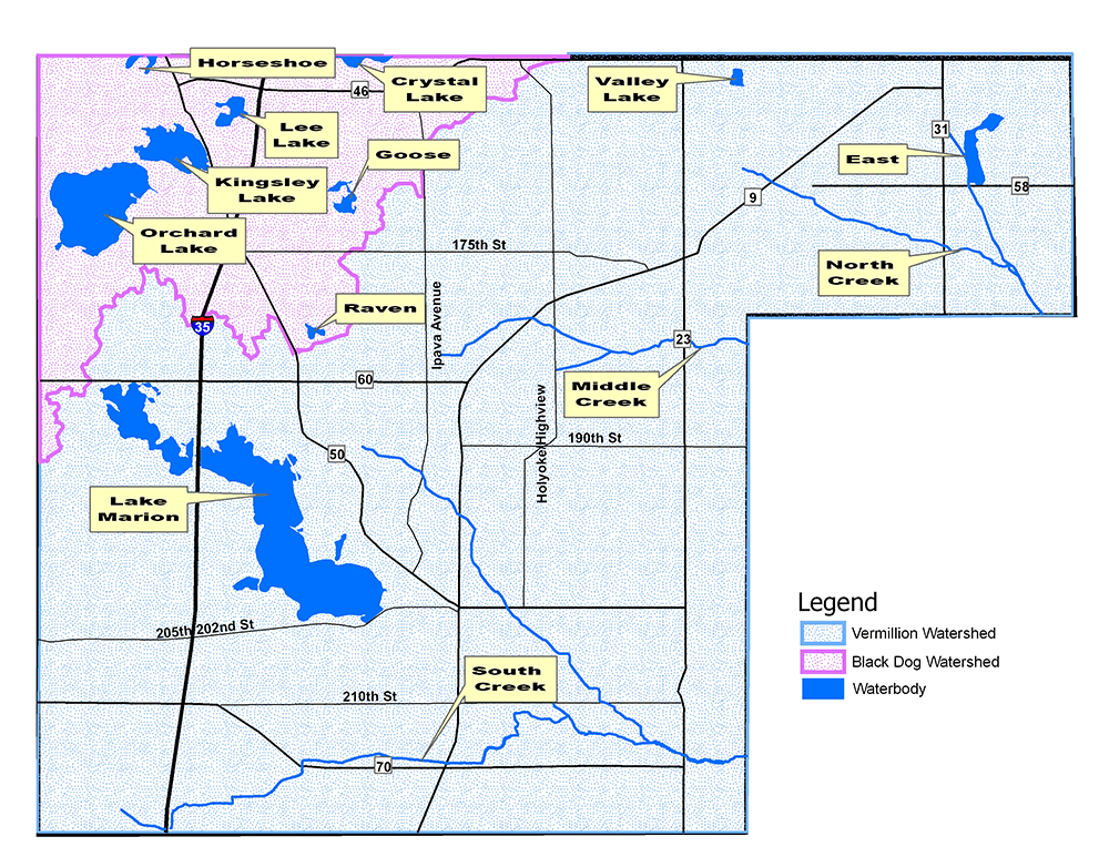 Map of lakes in Lakeville