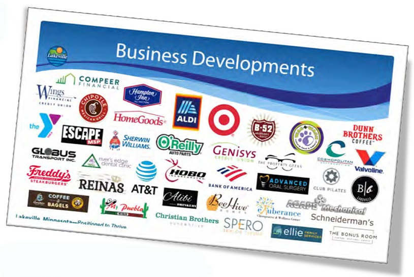 logos of some businesses in Lakeville